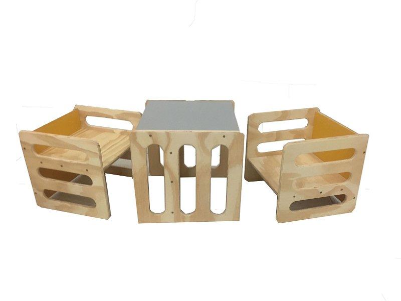 Kit: 3 Cadeiras Cubos