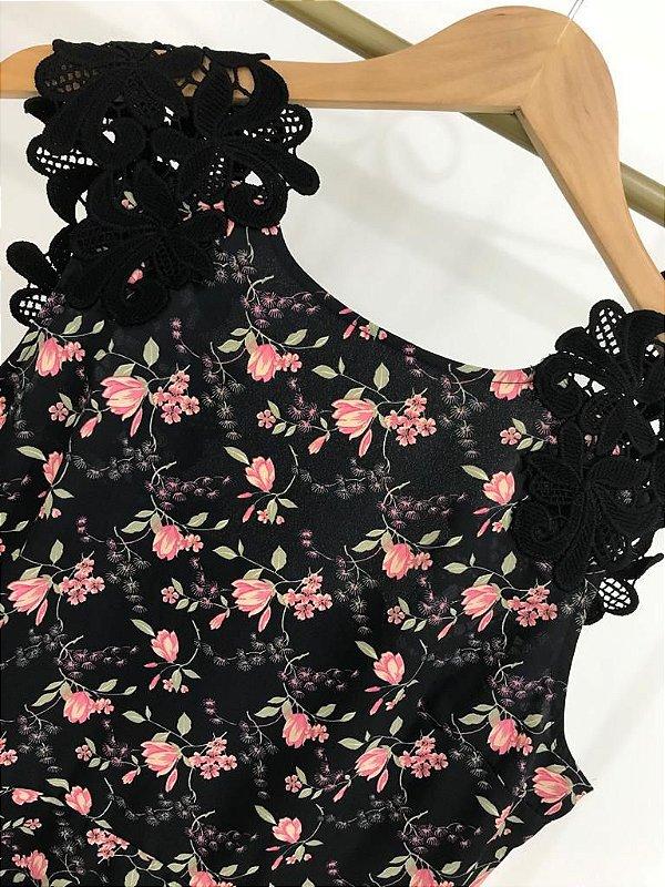 Blusa Floral Decote Renda nas Costas