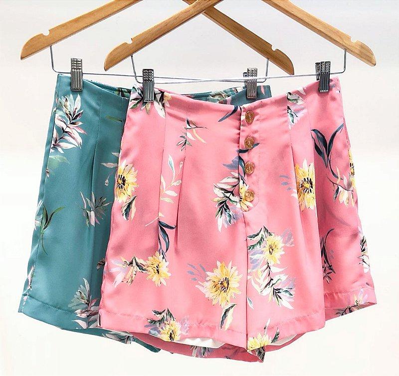 Shorts Floral com Botões
