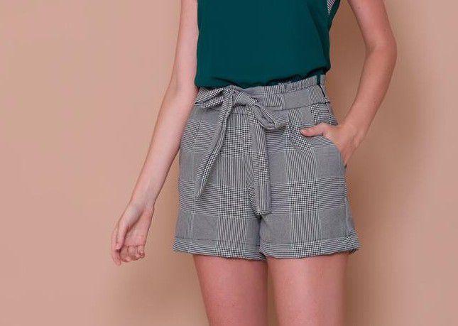 Shorts Xadrez com Amarração