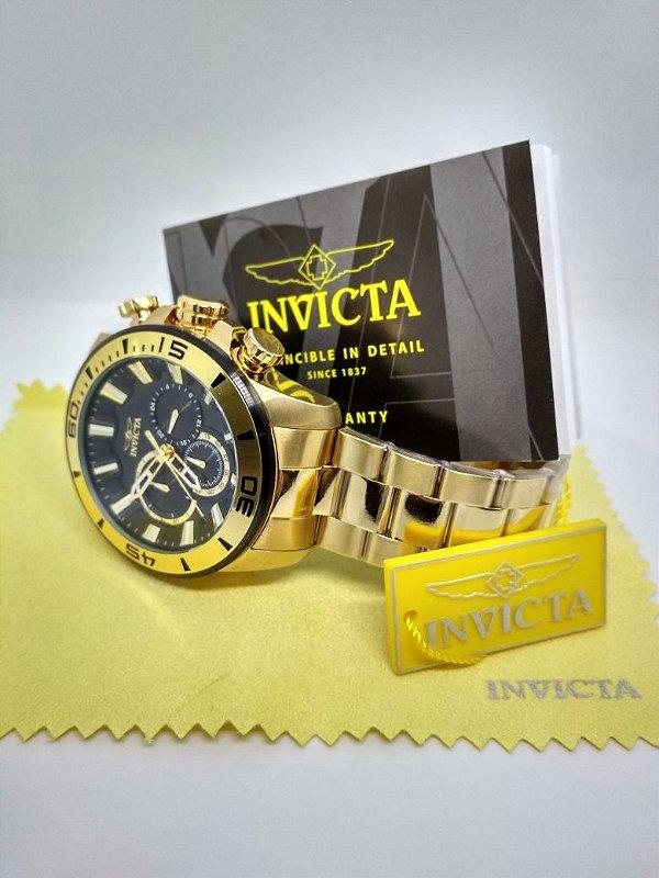 9d08a4275125c Relógio Invicta 22590 Original Masculino Dourado Pro Diver - Ouro ...