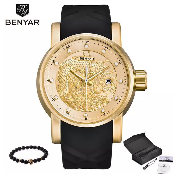 c065f44757b05 Relógio Yakuza Prova D agua Benyar Dourado Original C  Caixa - Vl ...