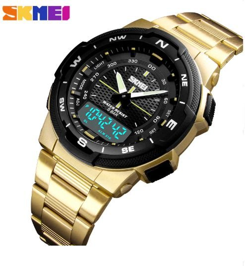 ac5b6da5dba Relógio Esportivo Masculino Skmei 1370 Dourado a Prova de água - Vl ...