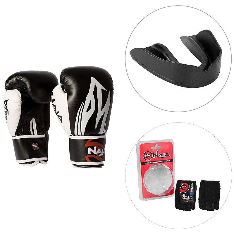 Kit Luva de Boxe Naja Extreme 14OZ + Protetor Bucal Naja + Bandagem Elástica Naja 3M