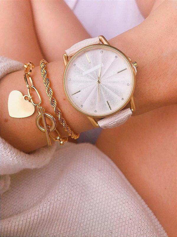 Relógio Marcela - Dourado/Branco