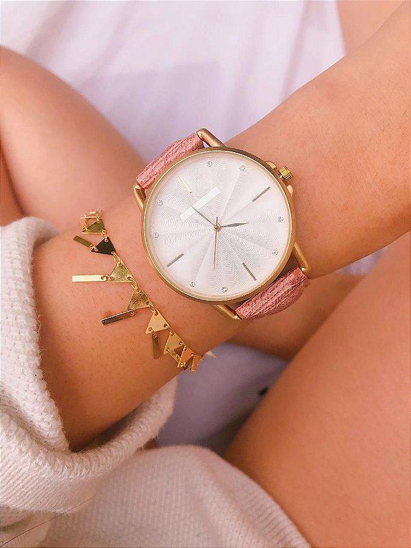 Relógio Marcela - Dourado/Rosa