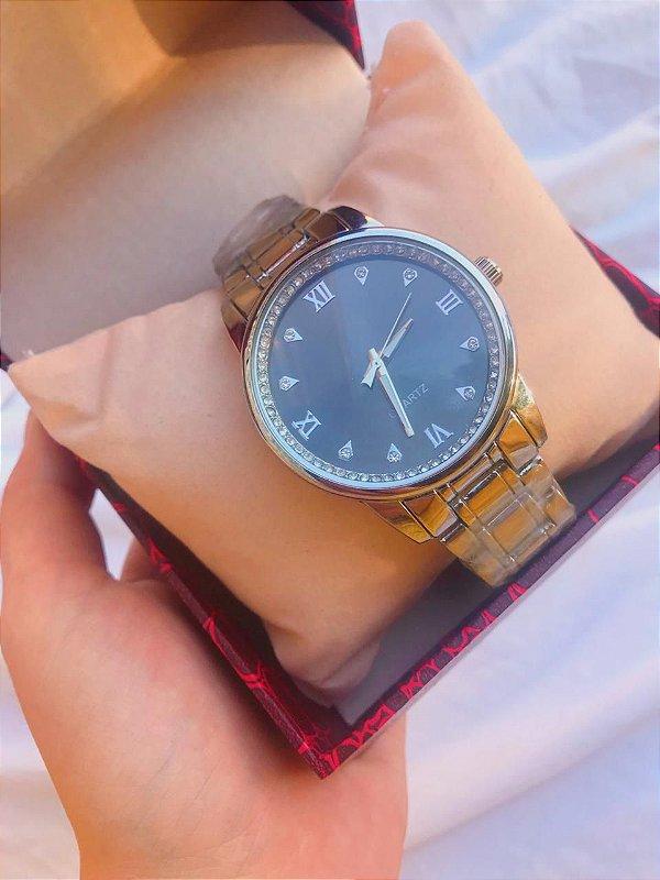 Relógio Joana - Prata/Preto