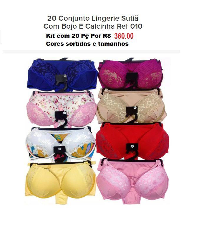 18fb56357 Kit com 20 Conjunto Lingerie Sutiã com Bojo e Calcinha - American ...
