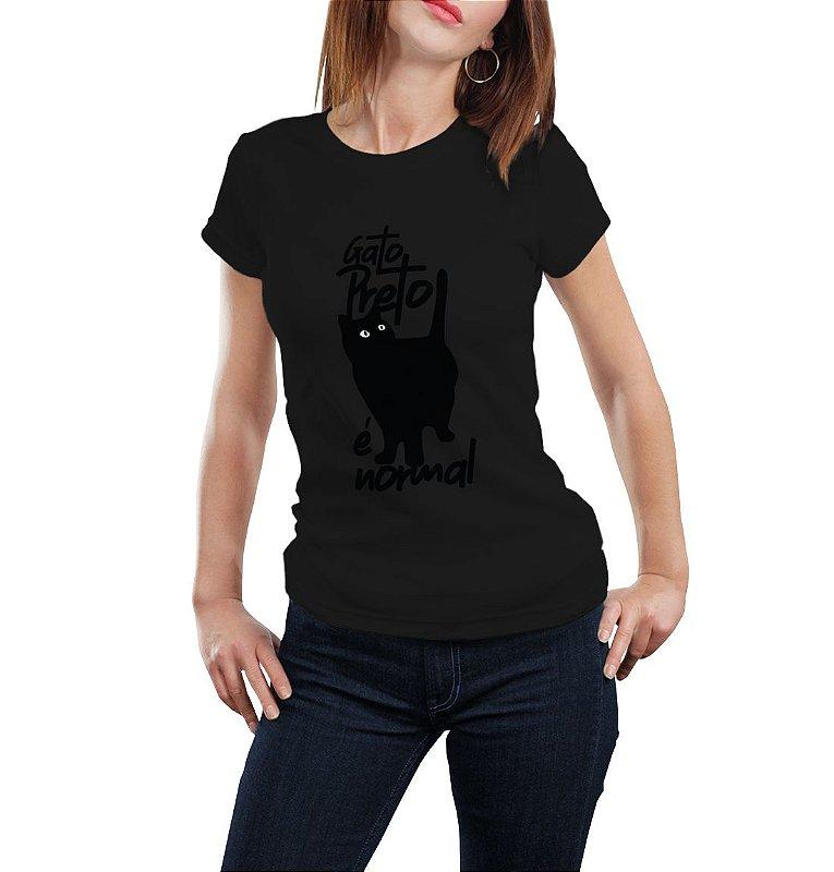 Camiseta Babylook Gato Preto