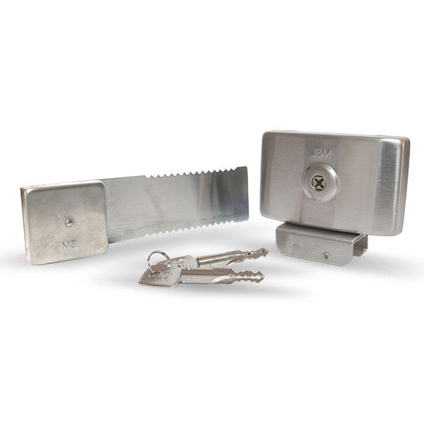 Fechadura para Porta de Vidro de Correr Chave Tetra Trilho 20cm JBM FC1