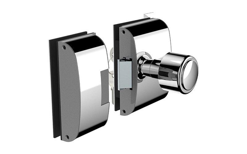 Fechadura Eletrônica para porta de Vidro x Vidro 12v R2l Inox Soprano