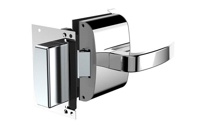 Fechadura Eletrônica para Porta de Vidro X Alvenaria - 12V - Maçaneta Reta