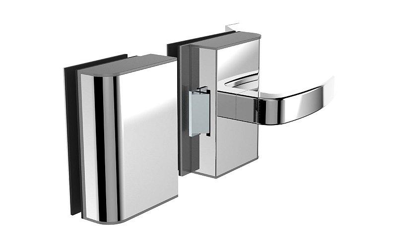 Fechadura Eletrônica para Porta de Vidro x Vidro 12V R2E Inox Reta