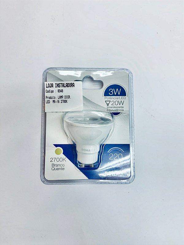 Lampada LED Dicroica MR16 Amarela (20 unids)