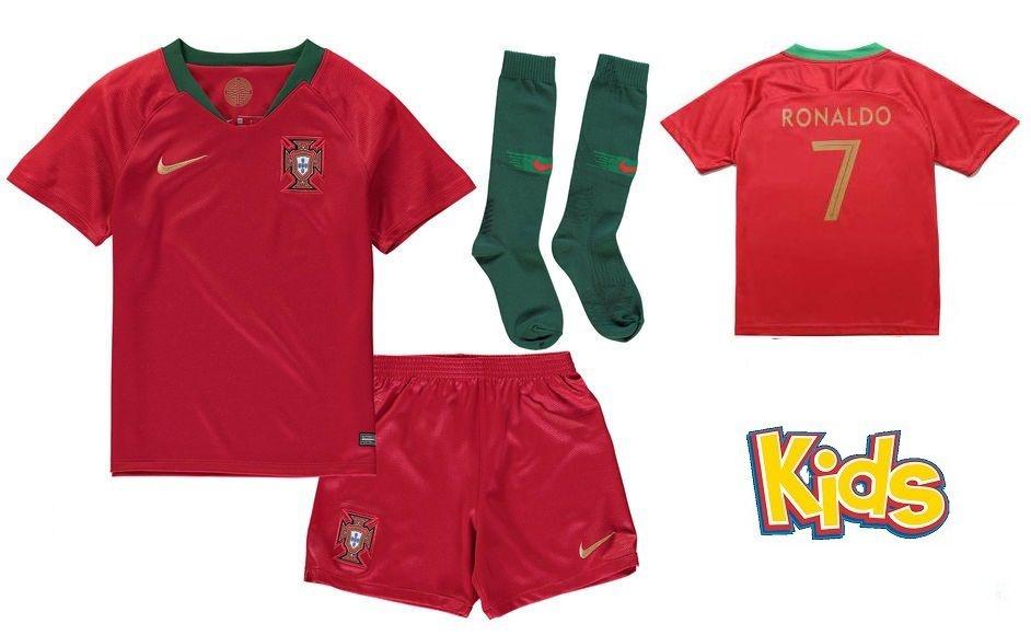 8e9a6f41ac Kit Infantil Seleção de Portugal Home 2018 2019 -Ronaldo Nº7 - Rei ...