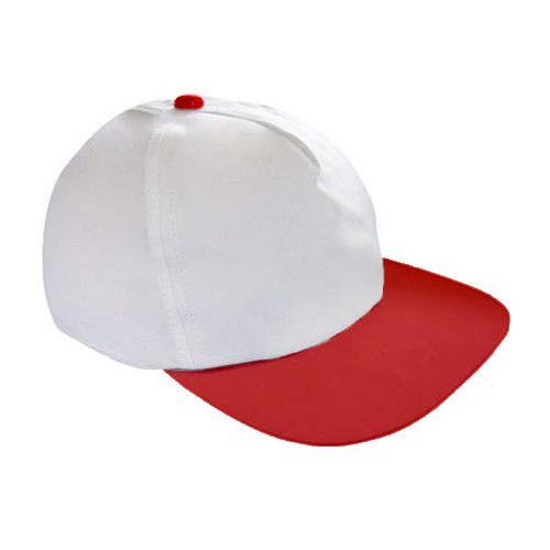 Boné Americano Cabeça Branca para Sublimação e Aba Vermelha em Microfibra  Adulto (157) fd6a184169a
