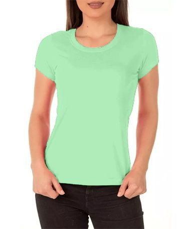 098eeaadaf Camisa Modelo Baby Look 100% Poliéster Verde Claro para Sublimação - 01  Unidade