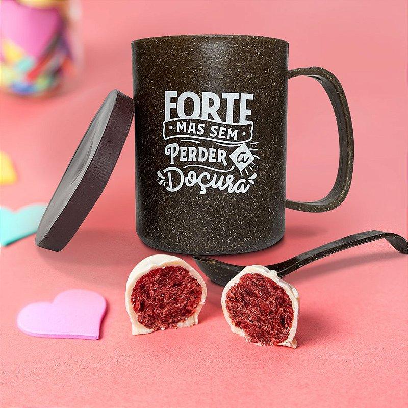 Caneca ecosustentável para presente com 120 gramas de bombom de CRANBERRY com chocolate branco - 120g - Presente para namorada