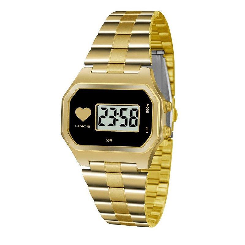 Relogio Feminino Digital Quadrado Dourado Lince com Coração