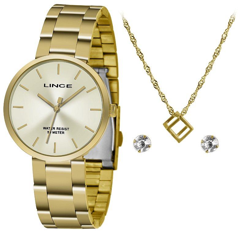 Kit Relogio Feminino Dourado Lince com Brinco e Colar LRGH10