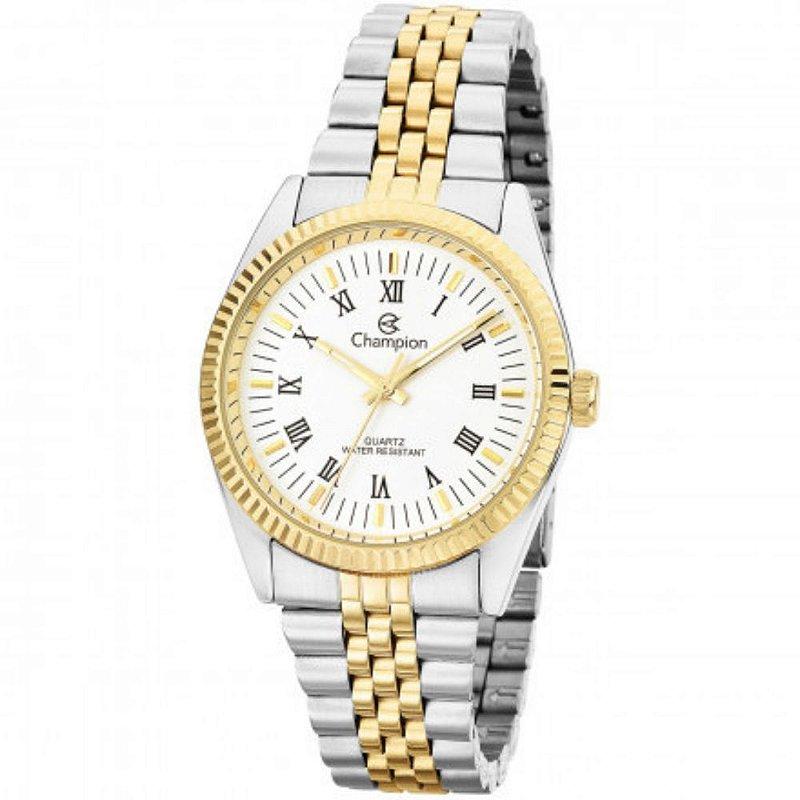 Relogio Feminino Prata com Dourado Numeros Romanos CH24777B