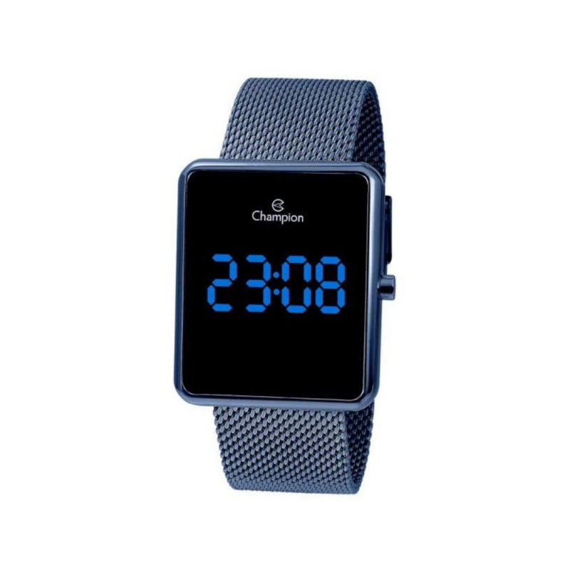 Relogio Feminino Digital LED Azul Quadrado Champion Original+NF