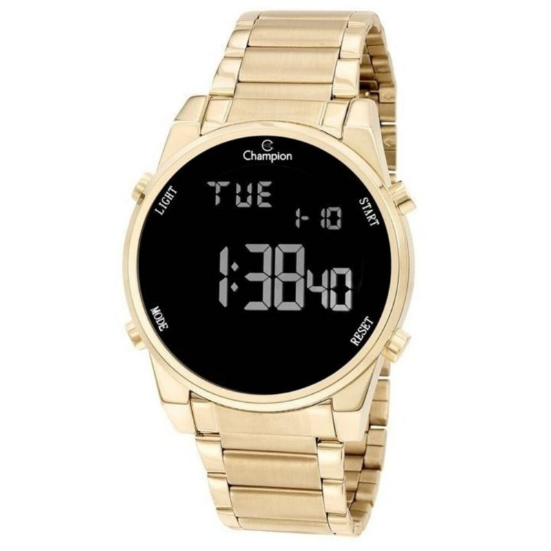 Relógio Feminino Dourado Digital Negativo Champion Original