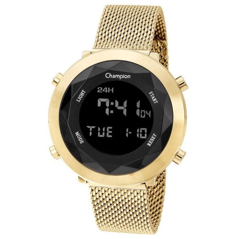 Relógio Feminino Digital Dourado Negativo Champion Original