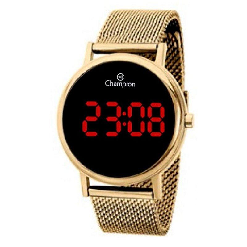 Relógio Feminino Dourado Digital Led Vermelho Champion + NF