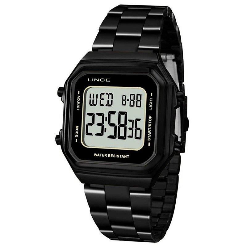 Relógio Feminino Quadrado Digital Todo Preto Lince SDN617L B