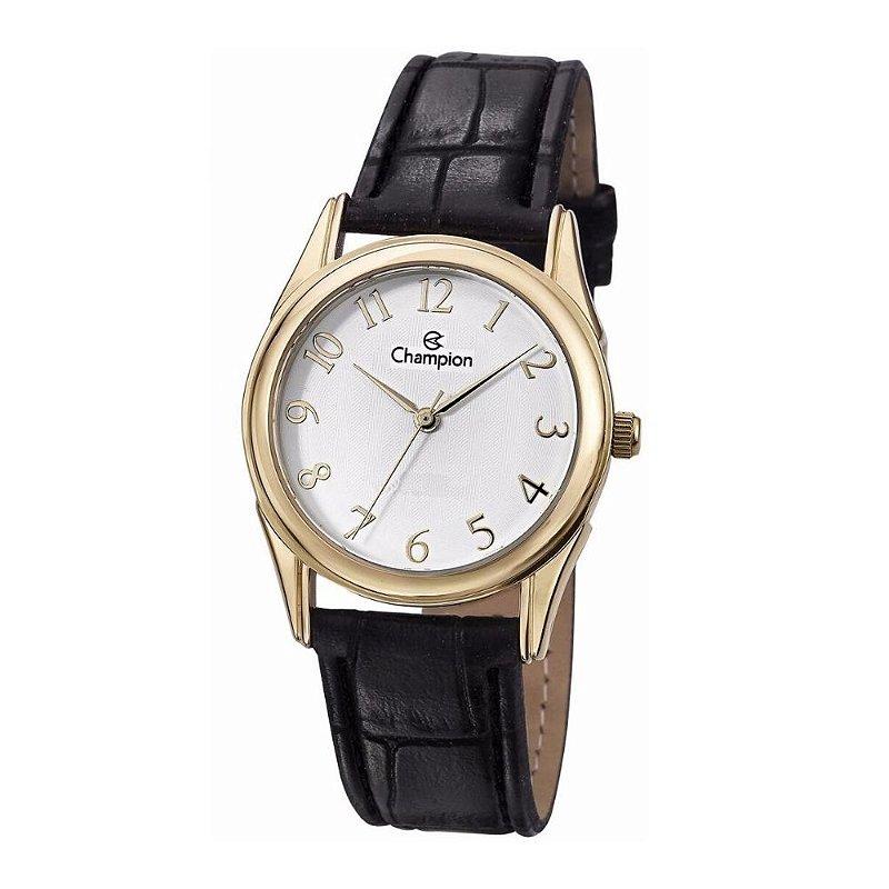 Relógio Feminino Dourado Couro Preto Champion + NF