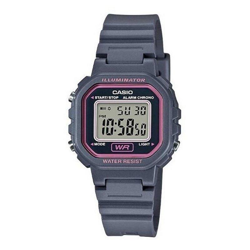 Relógio Casio Infantil Feminino Cinza e Rosa Pequeno Digital