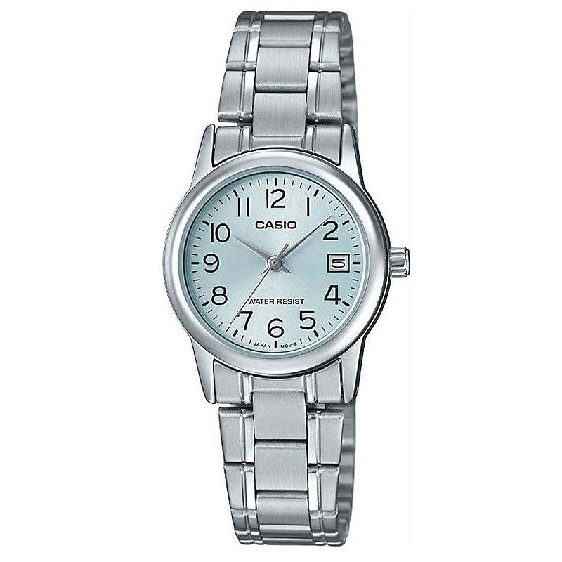 Relógio Feminino Casio Prata Pequeno Fundo Azul + NF