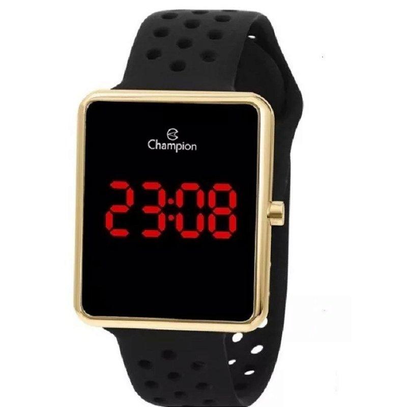 Relógio Feminino Dourado Champion Digital Pulseira Preta
