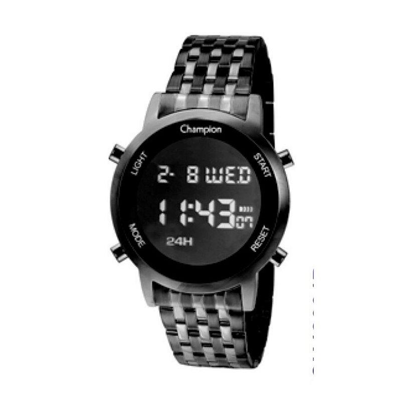 Relógio Feminino Preto Champion Digital Vidro Lapidado + NF