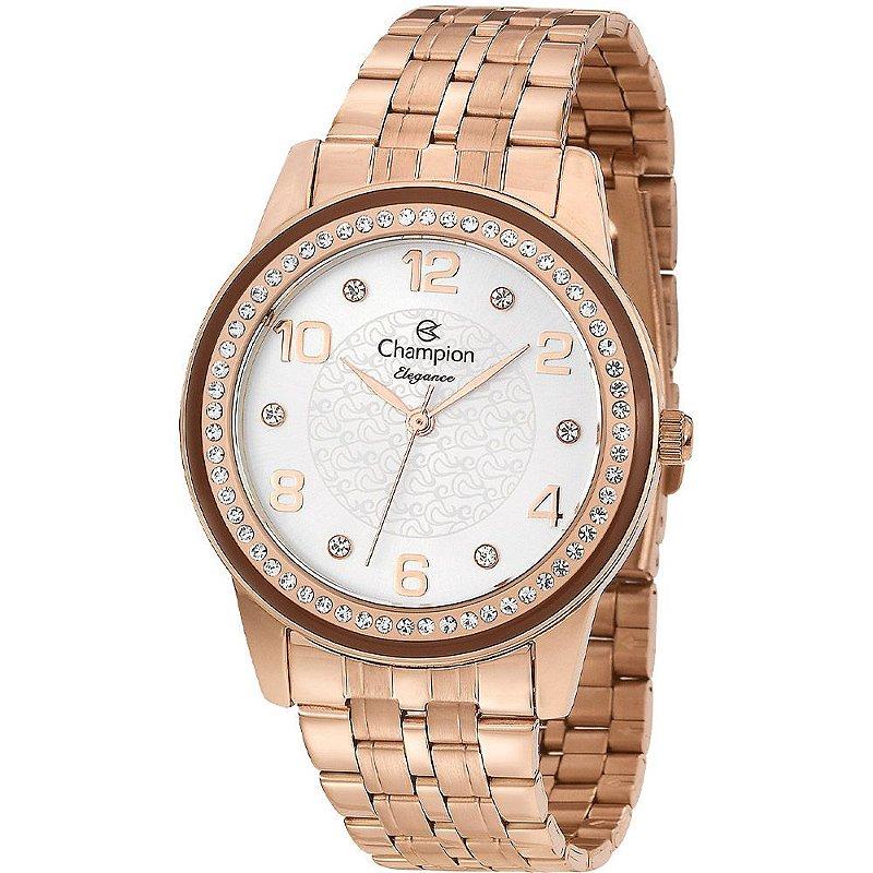 Relógio Feminino Rose Champion Fundo Prata Detalhes Pedras