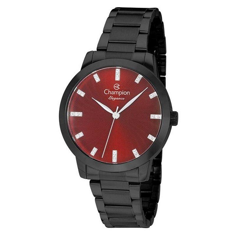 Relógio Feminino Preto Champion Fundo Vermelho com Pedras+NF