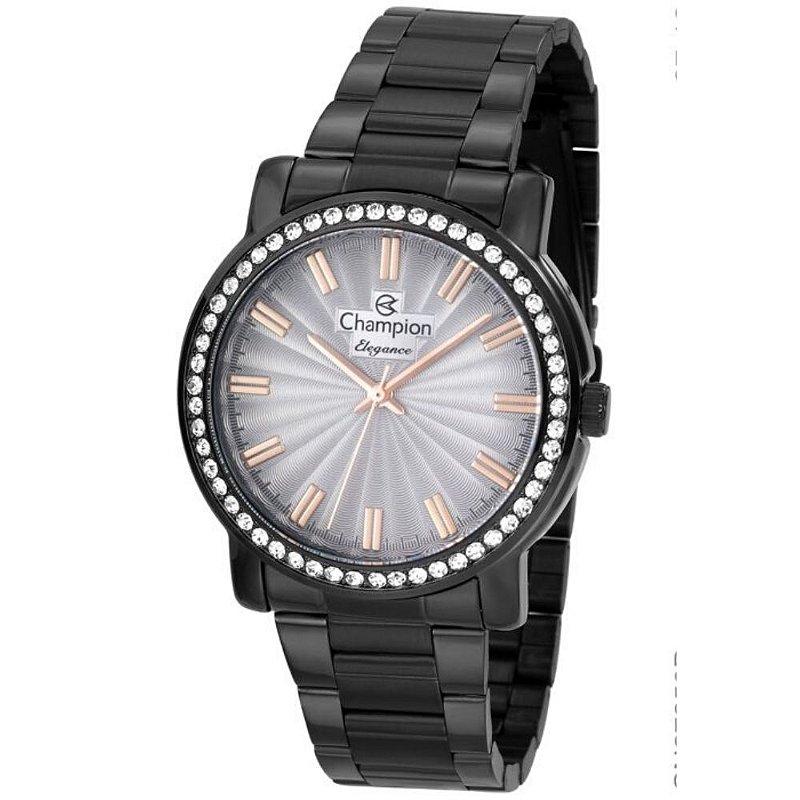 Relógio Feminino Preto Champion Detalhes em Rose e Pedras