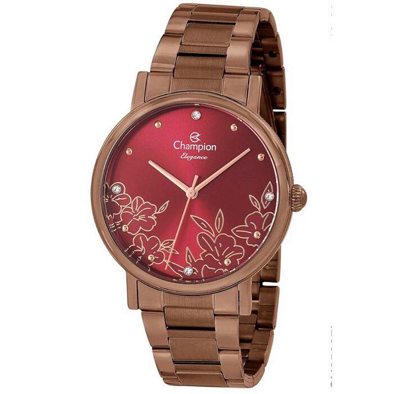 Relógio Feminino Chocolate Champion Fundo Vermelho com Flor