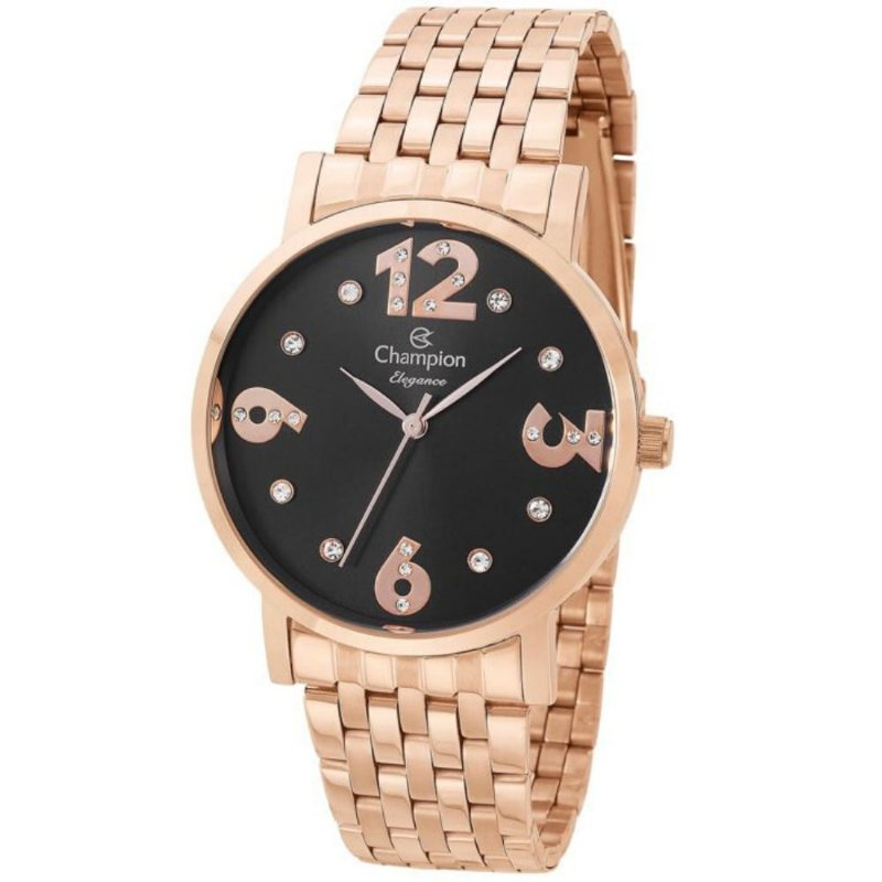 Relógio Feminino Rose Champion Fundo Preto com Detalhe Pedra