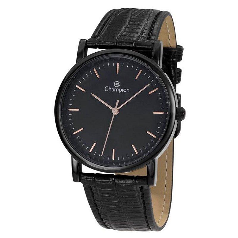 Relógio Feminino Preto Champion Pulseira de Couro Original