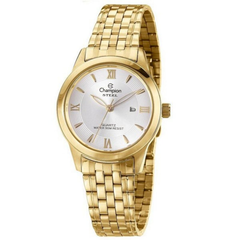 Relógio Feminino Dourado Champion Fundo Prata com Data + NF