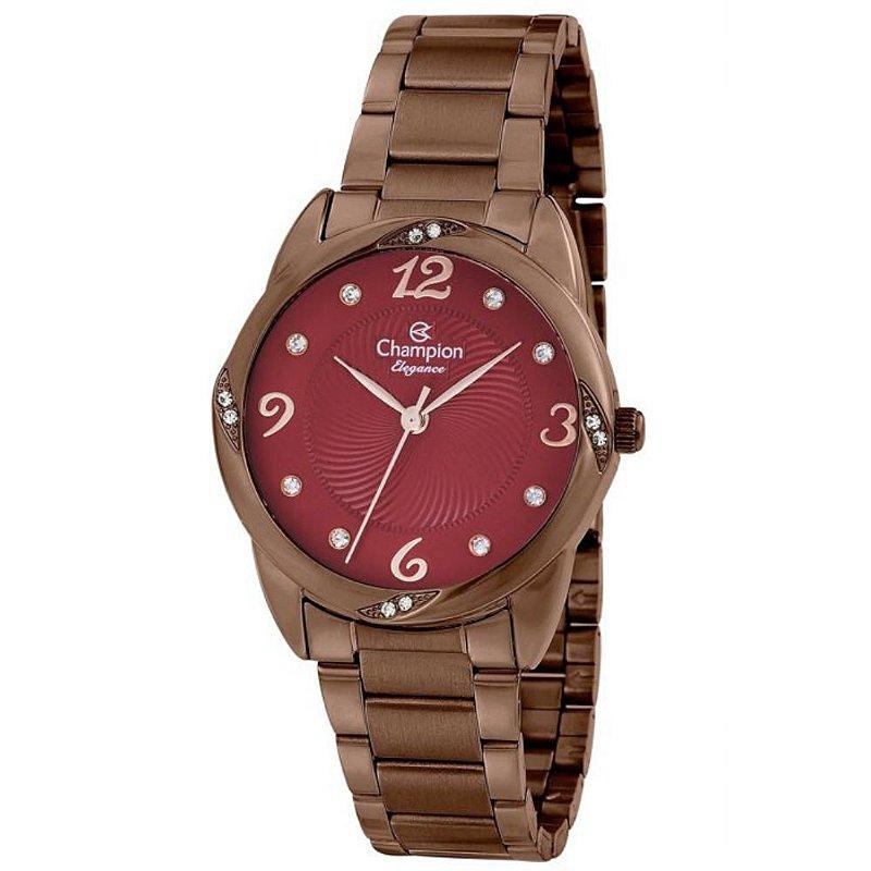 Relógio Feminino Chocolate Champion Fundo Vermelho Pedras