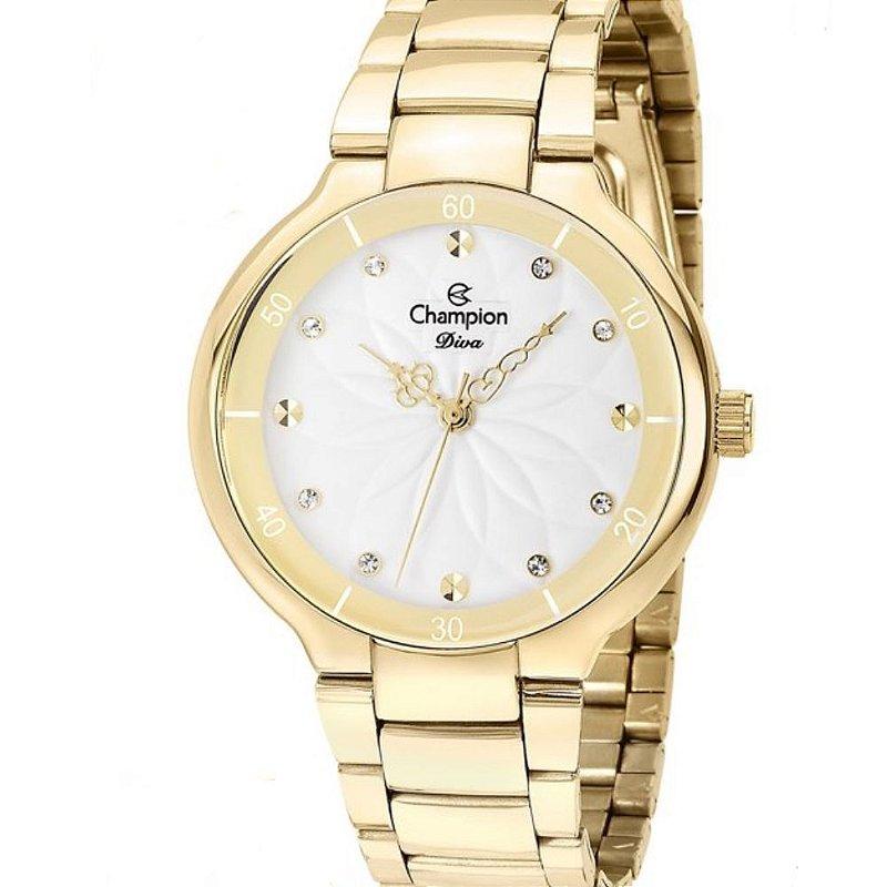Relógio Feminino Dourado Champion Ponteiros Diferente + NF
