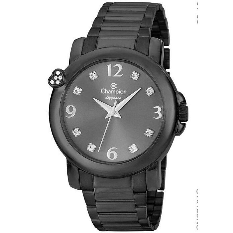Relógio Feminino Preto Champion Fundo com Pedras Original