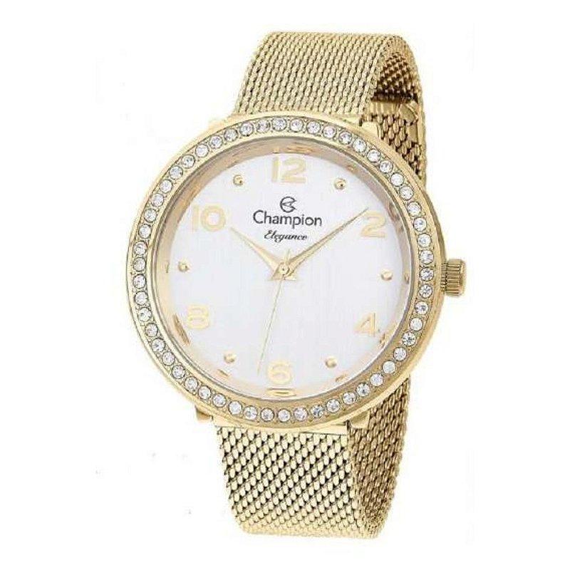 Relógio Feminino Dourado Champion Detalhes Pedras Original