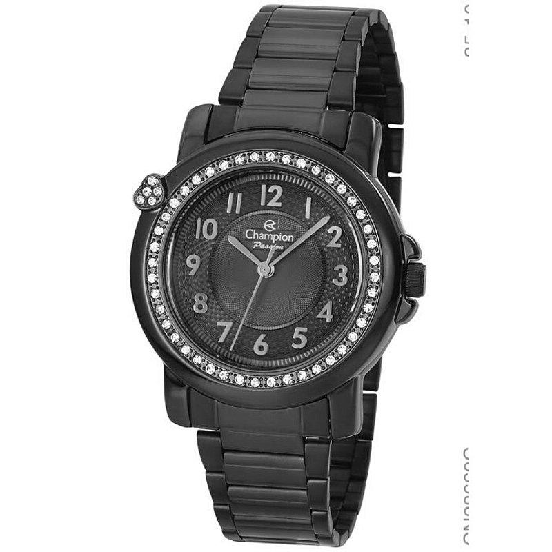 Relógio Feminino Preto Champion com Pedras Original +NF