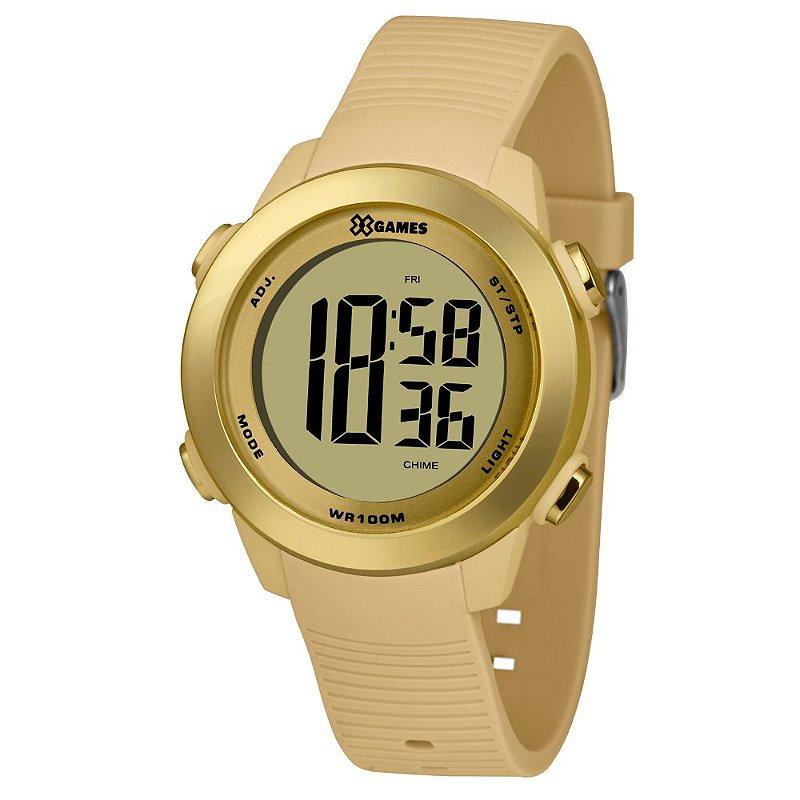 Relógio Feminino Dourado Digital X-Games Prova D'Água 100M
