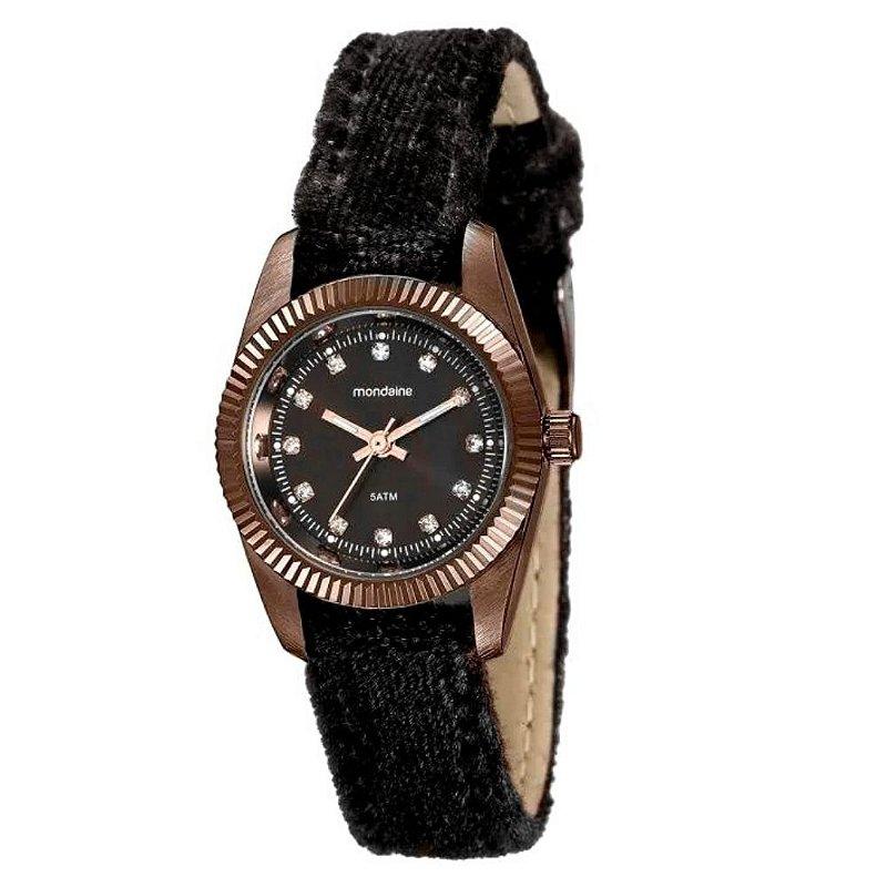 Relógio Feminino Redondo Pulseira de Couro Marrom Com Pedras