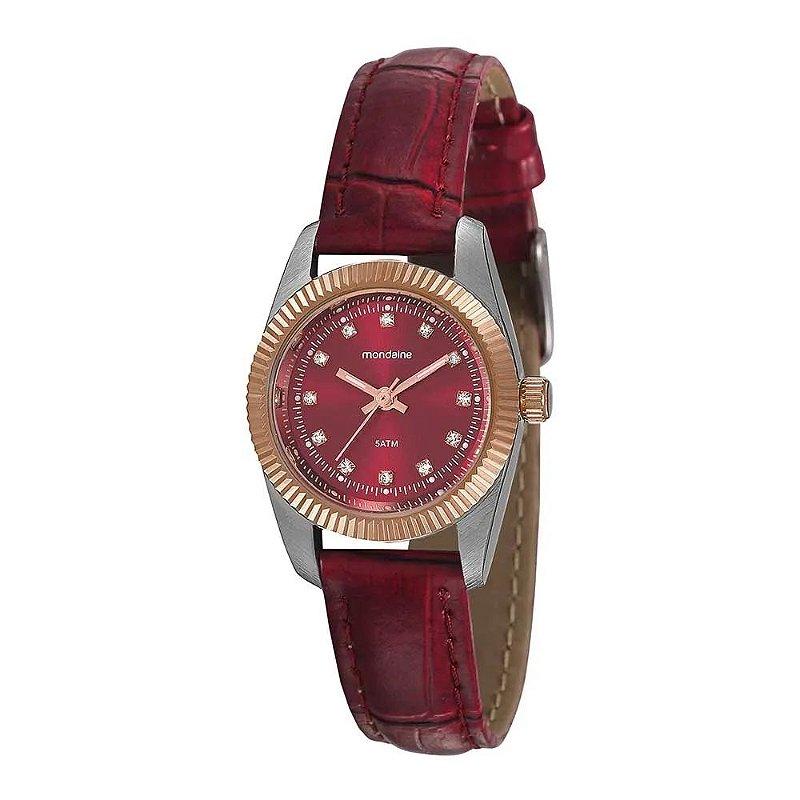 Relógio Feminino Prata e Rose de Couro Vermelho Com Pedras